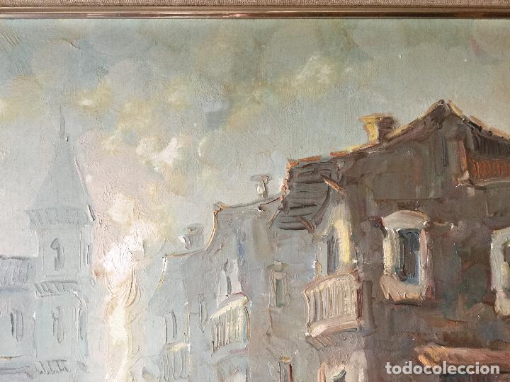 Arte: Cuadro Óleo sobre Lienzo. Escena cotidiana. Firmado - Foto 2 - 112307219