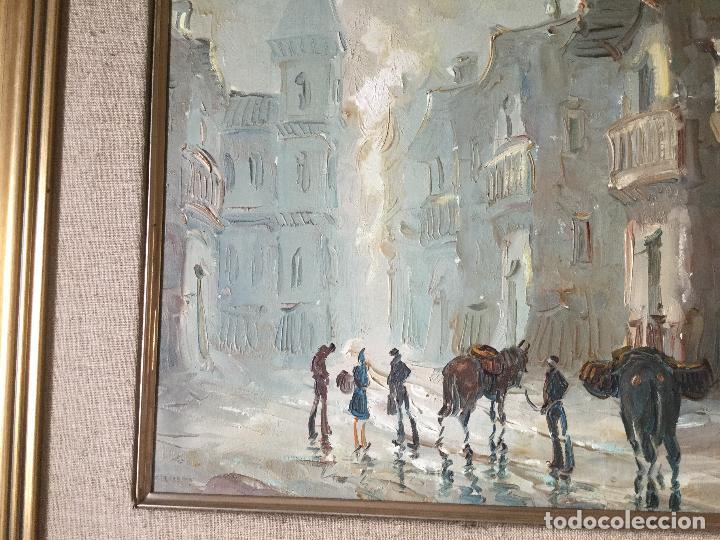 Arte: Cuadro Óleo sobre Lienzo. Escena cotidiana. Firmado - Foto 3 - 112307219