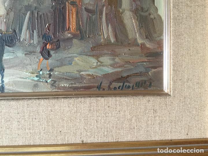 Arte: Cuadro Óleo sobre Lienzo. Escena cotidiana. Firmado - Foto 4 - 112307219