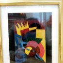Arte: CUADRO ÓLEO ABSTRACTO AÑOS 80, ESTILO MEMPHIS, ART DECO, FUTURISTA. Lote 112347838