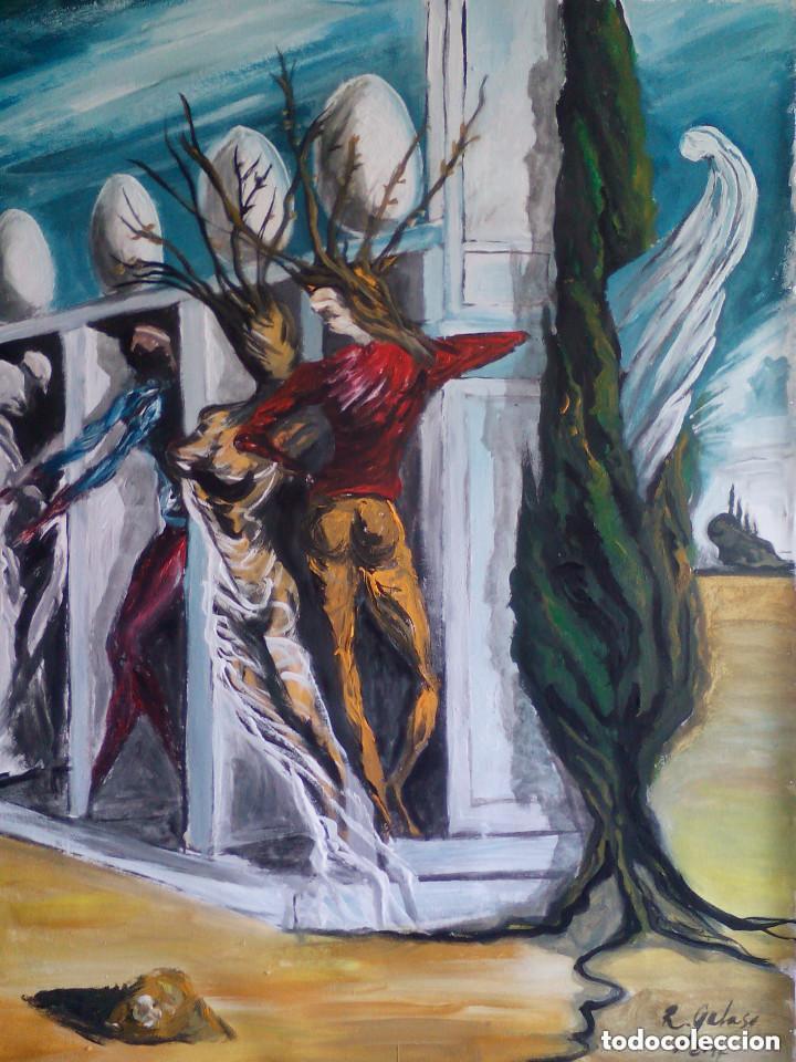 Arte: copia de dali,pintura sobre tela. - Foto 2 - 192378000