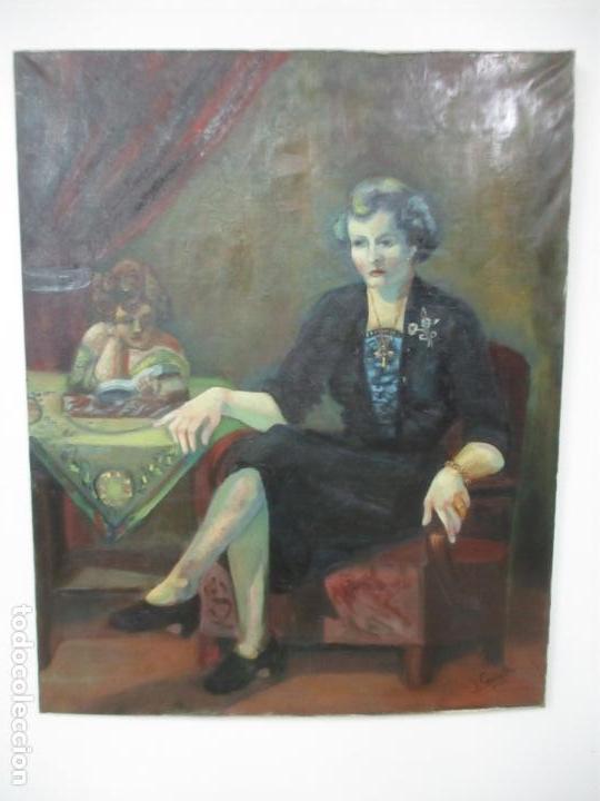 Arte: Frederic Comelles (Olot 1928 - 1980) - Óleo sobre Tela - Figura - Año 1953 - Foto 2 - 112450515