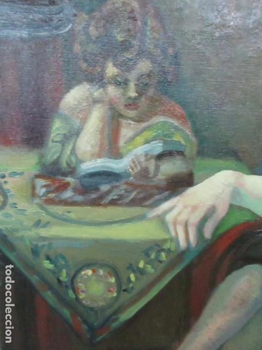 Arte: Frederic Comelles (Olot 1928 - 1980) - Óleo sobre Tela - Figura - Año 1953 - Foto 3 - 112450515