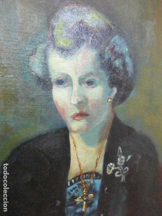 Arte: Frederic Comelles (Olot 1928 - 1980) - Óleo sobre Tela - Figura - Año 1953 - Foto 4 - 112450515
