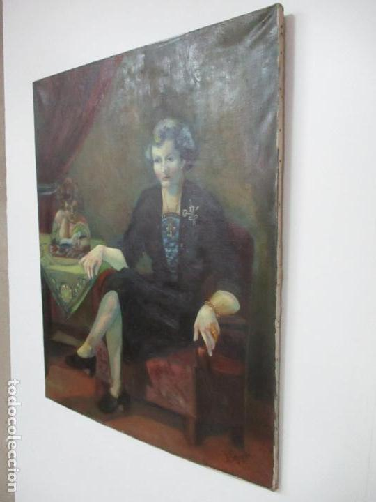Arte: Frederic Comelles (Olot 1928 - 1980) - Óleo sobre Tela - Figura - Año 1953 - Foto 6 - 112450515