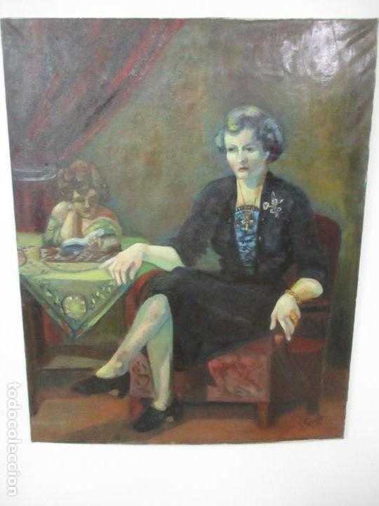 Arte: Frederic Comelles (Olot 1928 - 1980) - Óleo sobre Tela - Figura - Año 1953 - Foto 7 - 112450515