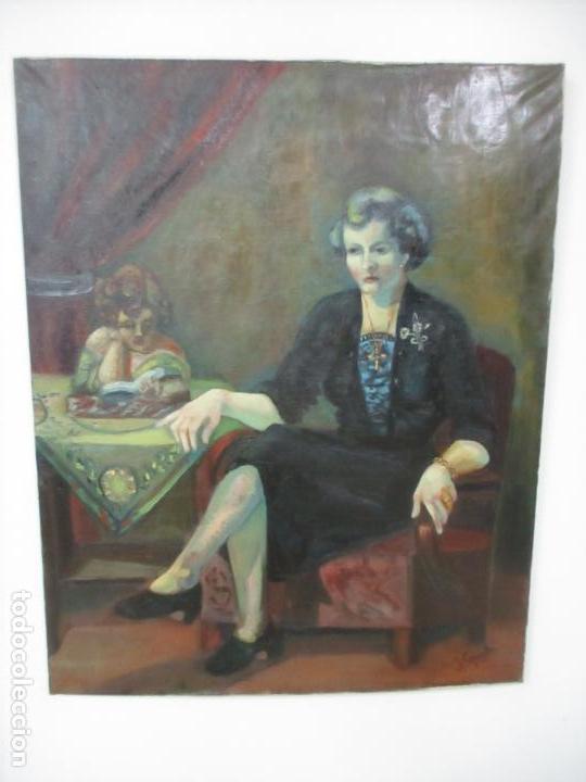 Arte: Frederic Comelles (Olot 1928 - 1980) - Óleo sobre Tela - Figura - Año 1953 - Foto 11 - 112450515