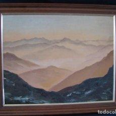 Arte: ÓLEO SOBRE LIENZO, MONTAÑAS, TRUJILLO, FIRMADO, MARCO MADERA, 1988. Lote 112503099