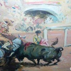Arte: ESPECIAL OBRA DE ANTONIO LOPERENA, PASE TAURINO PICADOR, ÓLEO SOBRE LIENZO 41 X 33 CM. Lote 227634095