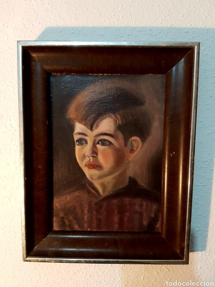 PINTURA AL OLEO, RETRATO NIÑO. PRIMERA MITAD S.XX. ENMARCADO (Arte - Pintura - Pintura al Óleo Contemporánea )