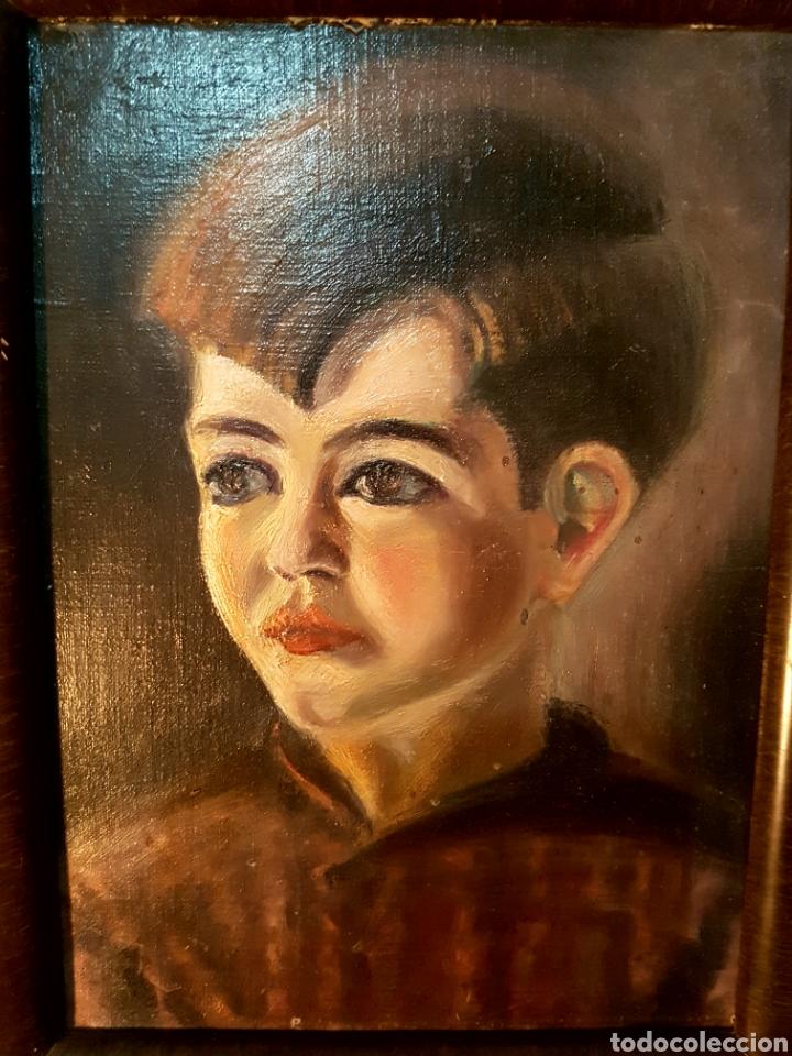 Arte: Pintura al oleo, retrato niño. Primera mitad s.XX. Enmarcado - Foto 3 - 112574626