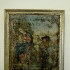 Arte: HUIDA A EGIPTO-SAGRADA FAMILIA-OLEO SOBRE CRISTAL-S.XVIII. Lote 112600363