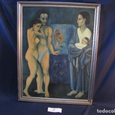 Arte: ÓLEO SOBRE TABLA, PERSONAJES SURREALISTAS, GRAN FORMATO, ENMARCADO, PEDRO ALONSO, FIRMADO, 80´S. Lote 112726527