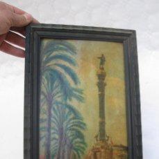Arte: CUADRO PINTURA TABLETA OLEO SOBRE TABLA S XIX RAMBLAS BARCELONA MONUMENTO COLON FIRMADO NOVOA . Lote 112743135