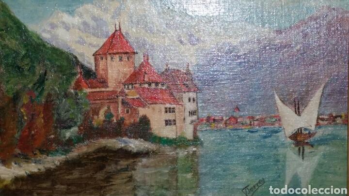 Arte: Paisaje Óleo sobre lienzo del lago Leman - Foto 2 - 112816074