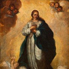 Arte: ÓLEO S/LIENZO -INMACULADA-. ENMARCADA DE ÉPOCA. CÍRCULO MURILLO FINALES S. XVII. DIM.- 103X72 CMS. Lote 112821991