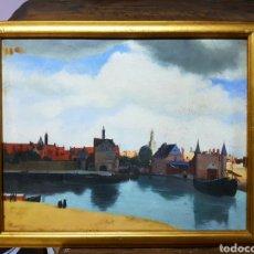 Arte - Interesante pintura al oleo, Vista del Delf según Vermeer. Gran calidad, Enmarcado. - 112833342