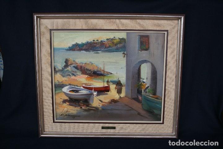 DIDAC GARCIA RIDAO, (PALAFRUGELL, GIRONA, 1944) O/L, ESTUPENDA MARINA , CALELLA DE PALAFRUGELL (Arte - Pintura - Pintura al Óleo Contemporánea )