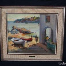 Arte: DIDAC GARCIA RIDAO, (PALAFRUGELL, GIRONA, 1944) O/L, ESTUPENDA MARINA , CALELLA DE PALAFRUGELL. Lote 112863483