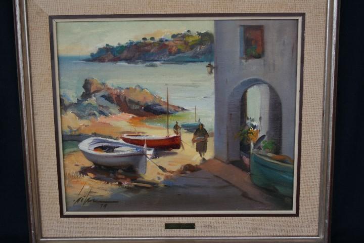 Arte: Didac Garcia Ridao, (Palafrugell, Girona, 1944) O/L, ESTUPENDA MARINA , CALELLA DE PALAFRUGELL - Foto 2 - 112863483