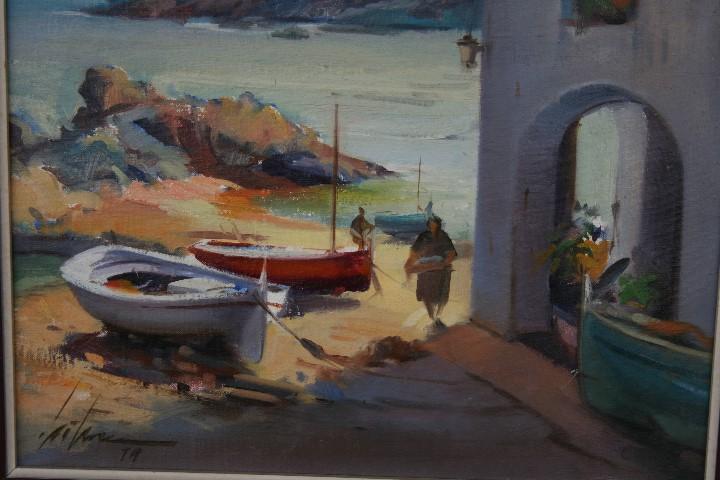 Arte: Didac Garcia Ridao, (Palafrugell, Girona, 1944) O/L, ESTUPENDA MARINA , CALELLA DE PALAFRUGELL - Foto 6 - 112863483