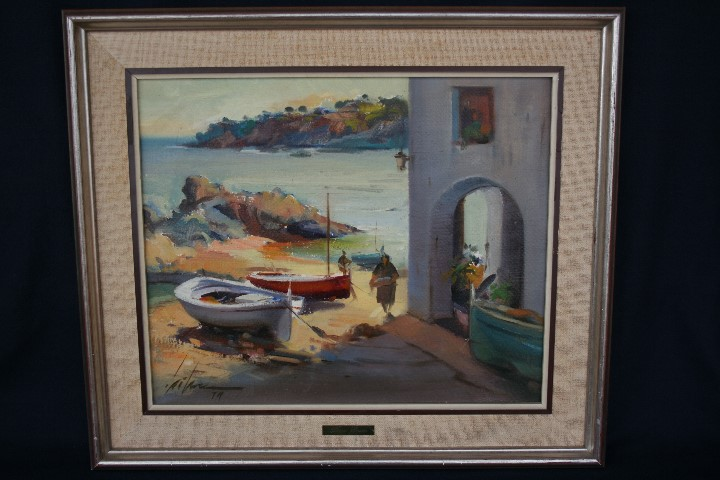 Arte: Didac Garcia Ridao, (Palafrugell, Girona, 1944) O/L, ESTUPENDA MARINA , CALELLA DE PALAFRUGELL - Foto 9 - 112863483