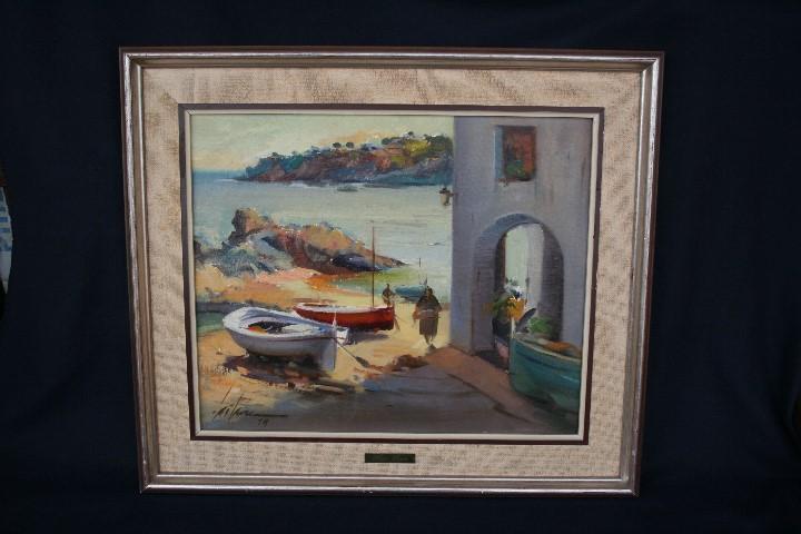 Arte: Didac Garcia Ridao, (Palafrugell, Girona, 1944) O/L, ESTUPENDA MARINA , CALELLA DE PALAFRUGELL - Foto 11 - 112863483