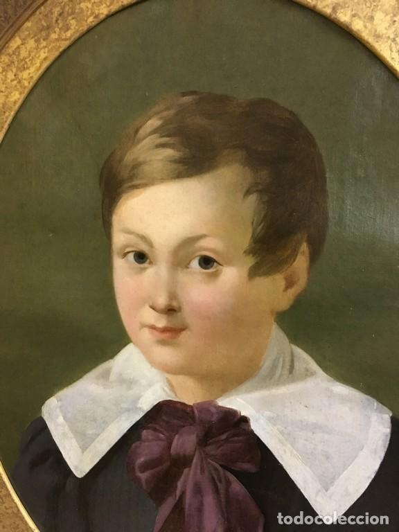 RETRATO OVALADO DE JOVEN NIÑO S. XIX FRANCIA - ÓLEO SOBRE LIENZO (Arte - Pintura - Pintura al Óleo Moderna siglo XIX)