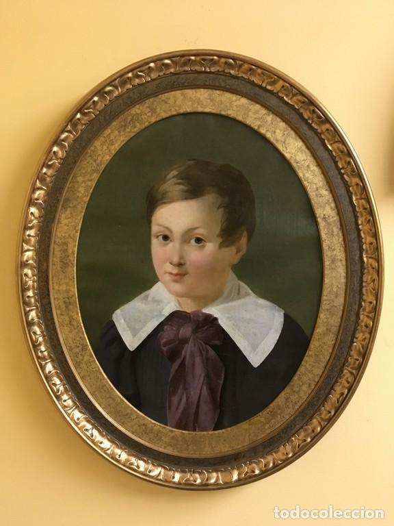 Arte: Retrato ovalado de joven niño S. XIX Francia - óleo sobre lienzo - Foto 2 - 112926215