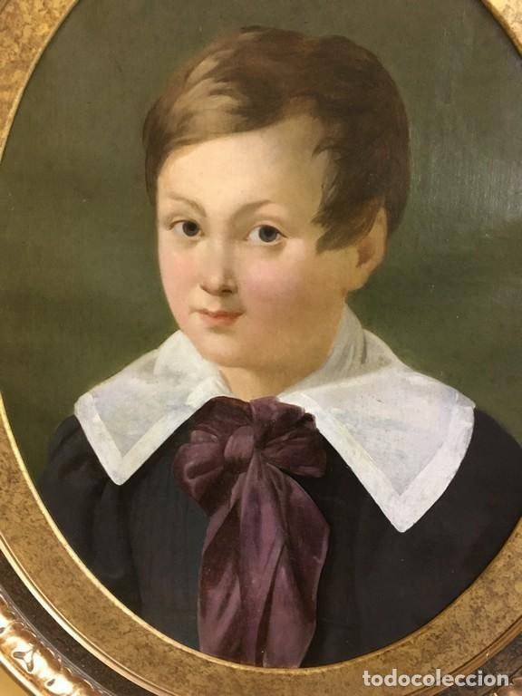 Arte: Retrato ovalado de joven niño S. XIX Francia - óleo sobre lienzo - Foto 3 - 112926215