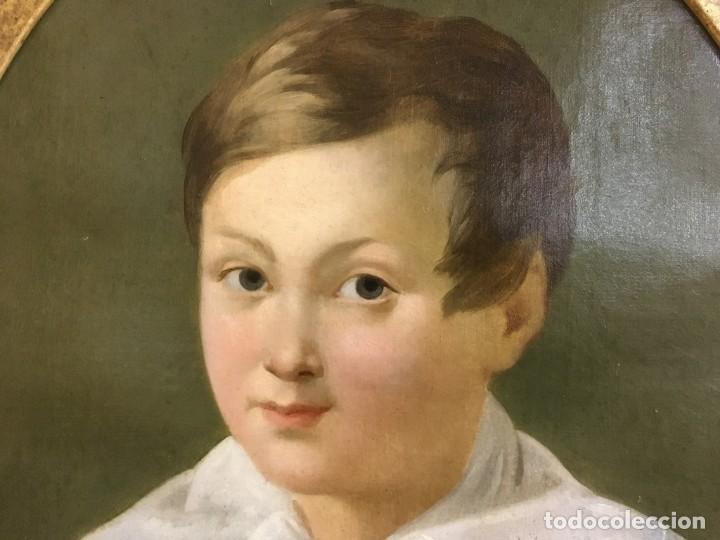Arte: Retrato ovalado de joven niño S. XIX Francia - óleo sobre lienzo - Foto 4 - 112926215
