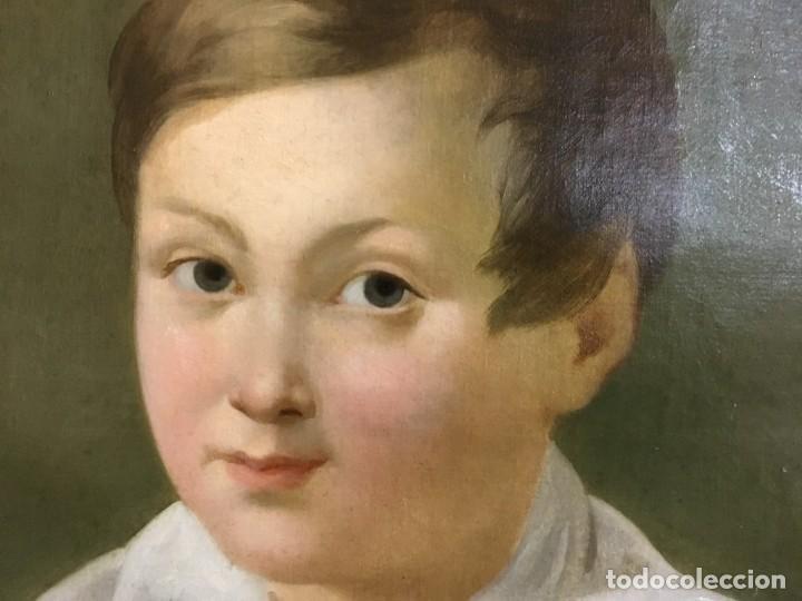 Arte: Retrato ovalado de joven niño S. XIX Francia - óleo sobre lienzo - Foto 5 - 112926215