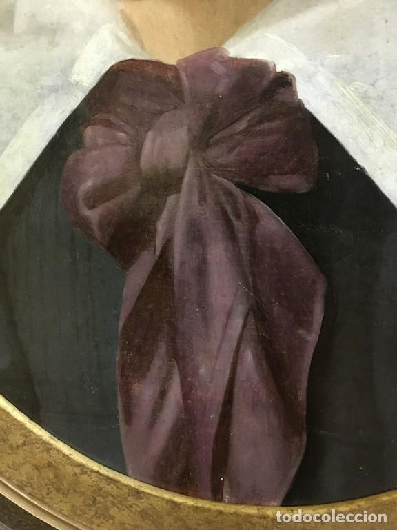 Arte: Retrato ovalado de joven niño S. XIX Francia - óleo sobre lienzo - Foto 8 - 112926215