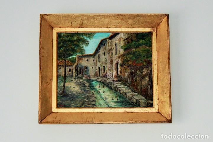 oleo sobre lienzo, marco en pan de oro. firmado - Comprar Pintura al ...