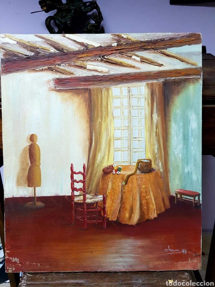 OLEO SOBRE LIENZO, HABITACIÓN DE COSTURA, OLEO 46X55CM SIN ENMARCAR. FIRMADO. (Arte - Pintura - Pintura al Óleo Contemporánea )