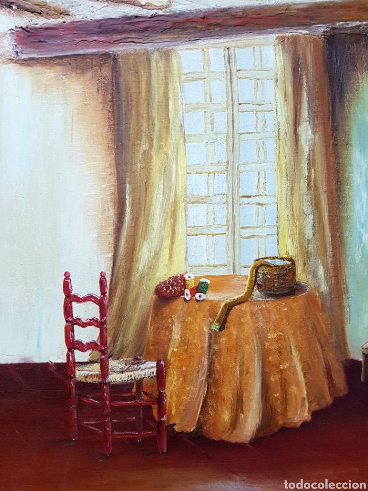Arte: Oleo sobre lienzo, habitación de costura, Oleo 46x55cm sin enmarcar. Firmado. - Foto 2 - 113018046
