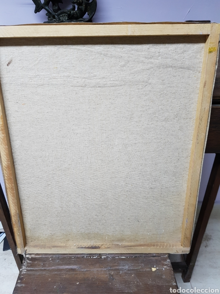 Arte: Oleo sobre lienzo, habitación de costura, Oleo 46x55cm sin enmarcar. Firmado. - Foto 3 - 113018046