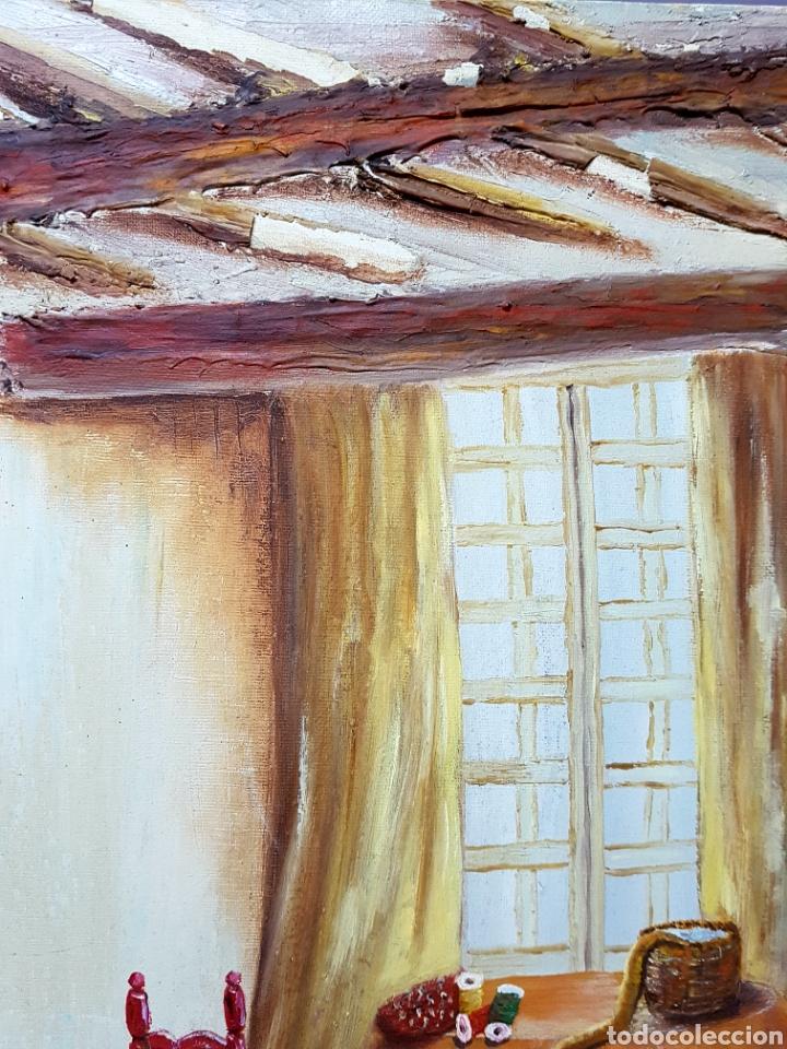 Arte: Oleo sobre lienzo, habitación de costura, Oleo 46x55cm sin enmarcar. Firmado. - Foto 4 - 113018046