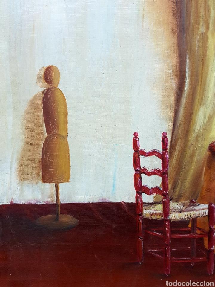 Arte: Oleo sobre lienzo, habitación de costura, Oleo 46x55cm sin enmarcar. Firmado. - Foto 5 - 113018046