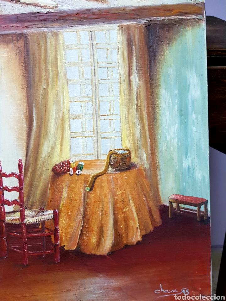 Arte: Oleo sobre lienzo, habitación de costura, Oleo 46x55cm sin enmarcar. Firmado. - Foto 6 - 113018046