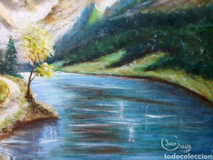 Arte: Oleo sobre lienzo, paisaje de montaña con río, firmado 46x55cm - Foto 2 - 113018140