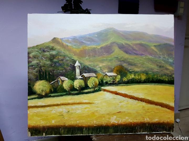 OLEO SOBRE LIENZO GRANDE, 80X60CM, , PAISAJE DE MONTAÑA, FIRMADO. SIN ENMARCAR. (Arte - Pintura - Pintura al Óleo Contemporánea )