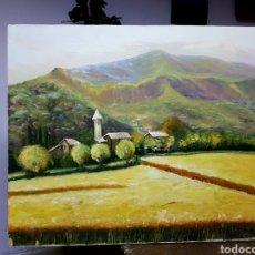 Arte: OLEO SOBRE LIENZO GRANDE, 80X60CM, , PAISAJE DE MONTAÑA, FIRMADO. SIN ENMARCAR.. Lote 113028895