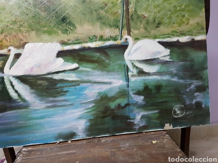 Arte: OLEO SOBRE LIENZO GRANDE, 80x60cm, , CISNES, FIRMADO. SIN ENMARCAR. - Foto 2 - 113028943