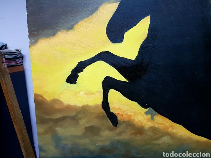 Arte: OLEO SOBRE LIENZO GRANDE, 80x60cm, , CABALLO A CONTRALUZ - Foto 3 - 113029046
