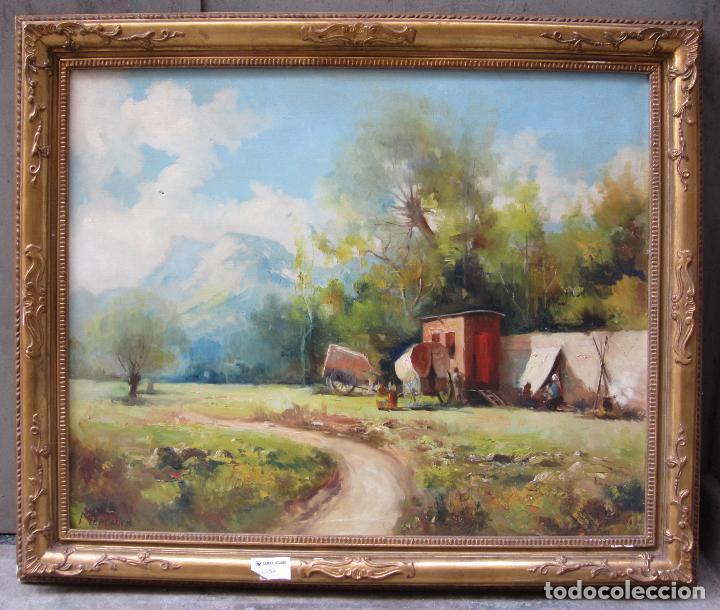 JOSEP IGNASI MERCADER (S. XIX-XX), CAMPAMENTO GITANO, ÓLEO SOBRE TELA. 94X79CM (Arte - Pintura - Pintura al Óleo Moderna siglo XIX)