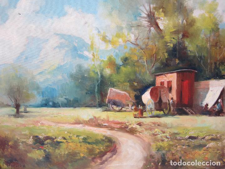 Arte: Josep Ignasi Mercader (s. XIX-XX), campamento gitano, óleo sobre tela. 94x79cm - Foto 2 - 113062215