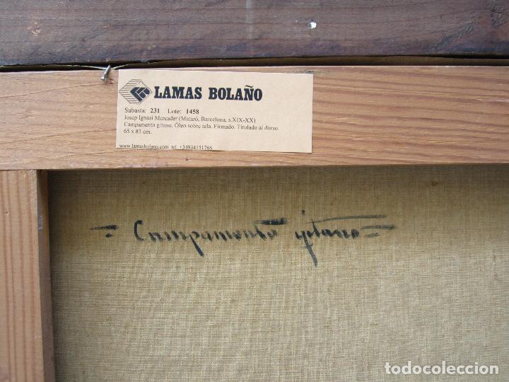 Arte: Josep Ignasi Mercader (s. XIX-XX), campamento gitano, óleo sobre tela. 94x79cm - Foto 3 - 113062215