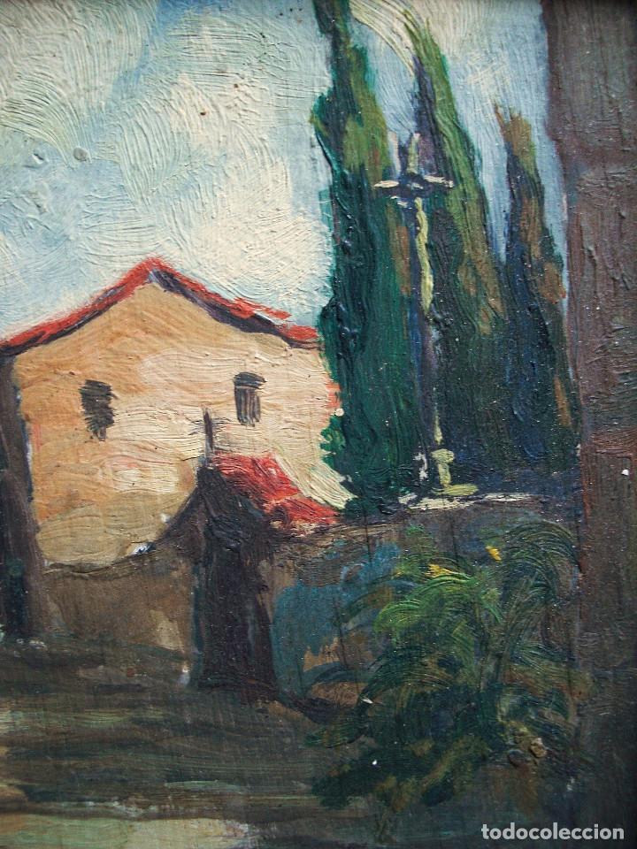 escuela catalana óleo/tabla 19 x 15 cm. con mar - Comprar Pintura al ...