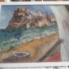 Arte: ÓLEO SOBRE LIENZO PEGADO A TABLEX FIRMADO DE PEÑISCOLA. Lote 113075687